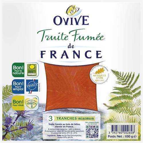 Truite fumée de France, 3 tranches Ovive