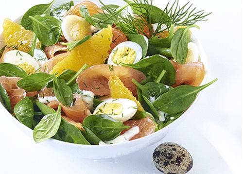 Salade d'épinards frais à la truite fumée OVIVE